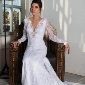 שמלת כלה לבנה צנועה