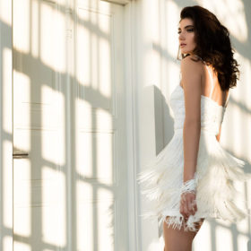 שמלת כלה חיתוכים לבן