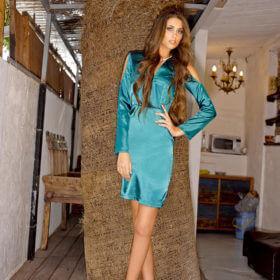 שמלת ערב מעוצבת בצבע טורקיז